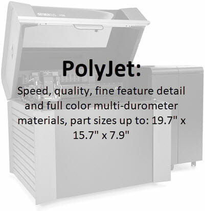 "3D Printing - PolyJet - Speed, quality, fine feature detail and full color multi-durometer materials, part sizes up to: 19.7"" x 15.7 x 7.9"", 3d printed parts 3d printed materials,"