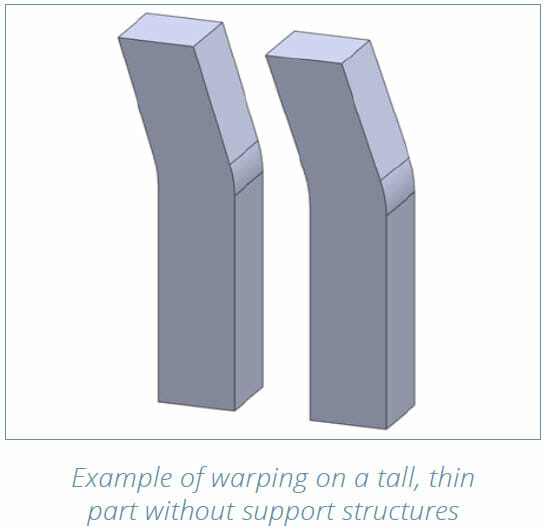 DMLS 3D Printing Design Guide - example of warping on a tall, thin part without support structures