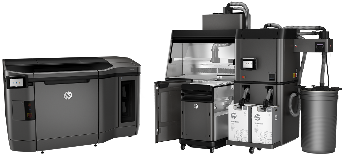 HP Multi Jet Fusion - MJF 3D Printing - Multi Jet Fusion Parts - Multi Jet Fusion Materials, Additive manufacturing cell with a white background
