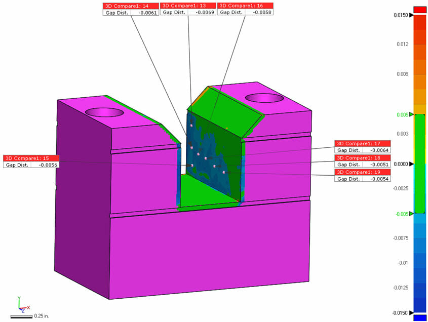 HP MJF Part Wear / MJF Part Strength - Laser scan inspection report, front of block